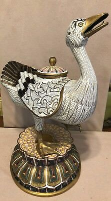 19th 20th Century Chinese Cloisonné Duck Censer Censor Lotus Incense Burner