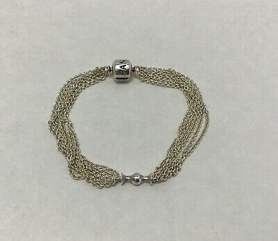 eec3f0a33 AUTHENTIC GENUINE PANDORA Silver Multi Chain Clip Station Bracelet ...