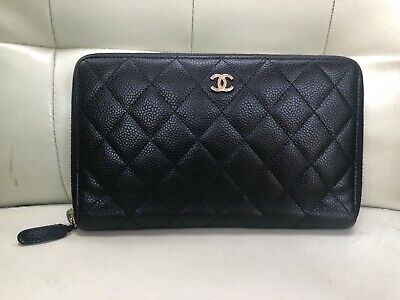 57127feed7b9 Authentic Chanel Soft Caviar Leather Large Travel Wallet Clutch in Black  Quil