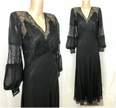 Vintage 1930s 1940s Gothic Black Lace Silk Bias Cut Balloon Sleeve Witchy Gown S
