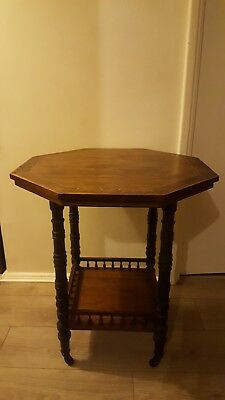 Antique vintage Octagonal Side Table with inlaid work