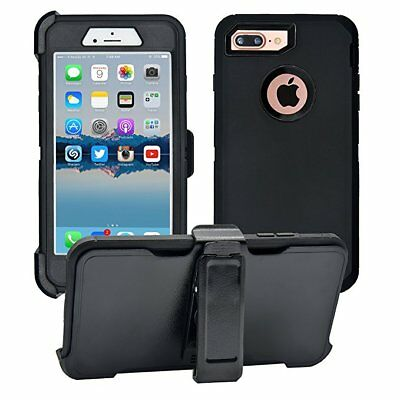 Defender Case With Belt Clip & Screen Protector For iPhone 7 Plus & 8 Plus Black
