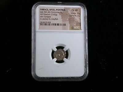 Ancient Greece  Thrace, Apol, Pontica NGC graded Ch. VF    AR Drachm  5th-4th BC