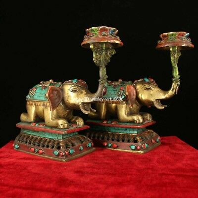 China Copper Inlaid Coral Turquoise Gem Elephant Candlestick Candleholder Statue