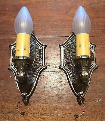Matched Pair Of Sconces Beautiful Pull chain Sconces Great!!!  2E