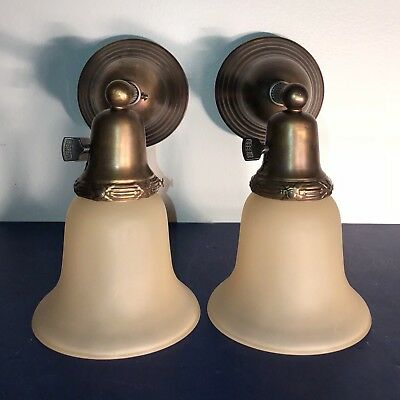Wired Pair Antique Brass Sconces Wired With Frosted Shades Great! 59E