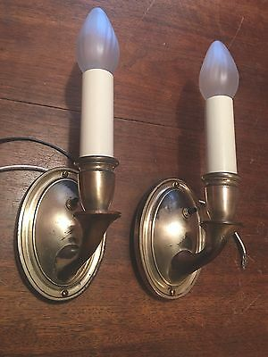 Brass Sconces Vintage Antique Wired Pair Electric Candles 1D
