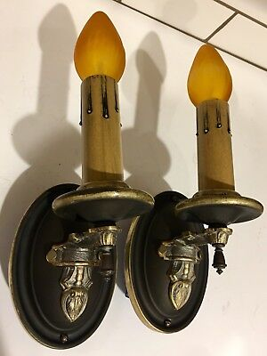 Early Antique Wall Sconce Fixtures Wired Pair Original Finish Brass Lights 35B