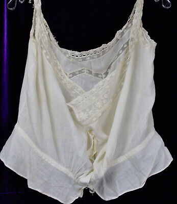 XL Antique C 1900 Corset Cover Camisole Edeleweiss Embroidery Whitwork Edwardan