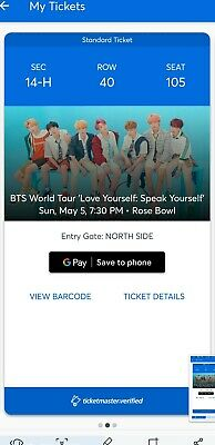 3 Tickets for BTS World Tour at the Rose Bowl, May 5th 2019