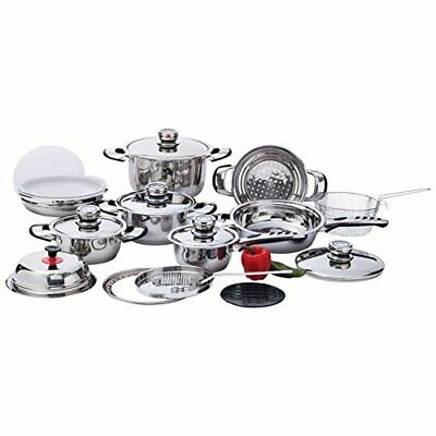 22pc 12-Element, High-Quality, Heavy-Duty Stainless Steel Cookware Set