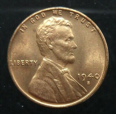 1940-S Lincoln Cent 1c wheat ears United States Mint red uncirculated coin