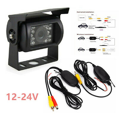 Wireless Rear View Backup Reverse CCD Camera for Car Auto Truck Caravan 12-24V