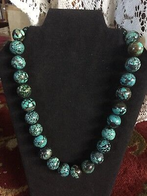 """Vintage Chinese Turquoise Large Bead Necklace 23"""" Long 209.6 Grams 16-19mm Beads"""