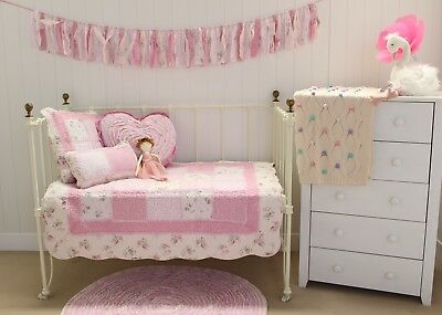 3 pc Mia Girls Cot Quilt Shabby Chic Baby Nursery Package