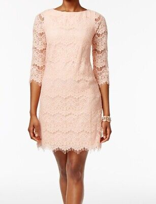 8582466b1ee4 Jessica Howard NEW Pink Womens Size 10 3/4 Sleeve Lace Sheath Dress $89 235
