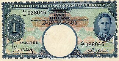 1941 $1 BOARD Of COMMISSIONERS of CURRENCY MALAYA  G/4 028046 aUNC NOTE