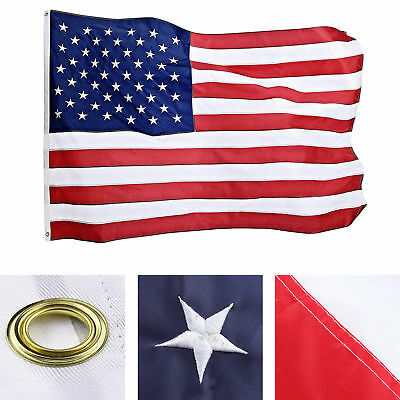 3x5ft  American USA US Flag Sewn Stripes EMBROIDERED Stars Brass Grommets Nylon