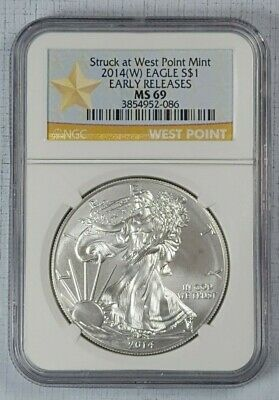 #2240 2014-W American Silver Eagle NGC MS69 Early Releases West Point Mint Label