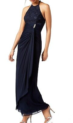 5c1c960fcad Betsy   Adam NEW Blue Womens Size 2 Halter Sequin Lace Ruched Gown  119 207