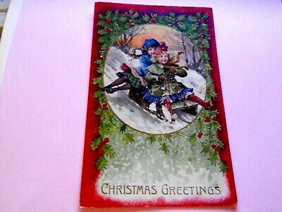 ".1908. RARE POSTCARD. Christmas Greetings. . ""L@@@K""."
