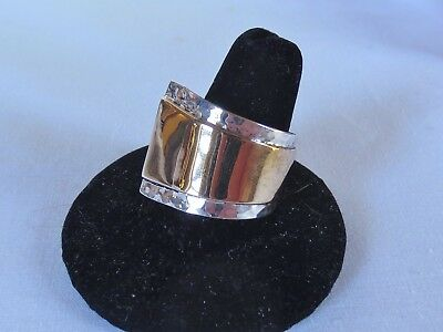 .925 Sterling Silver & Bronze  Ottoman Style Ring  Size 10