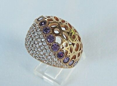 Domed Shaped Ring .925 Sterling Silver & Bronze Ring  Size  9.5