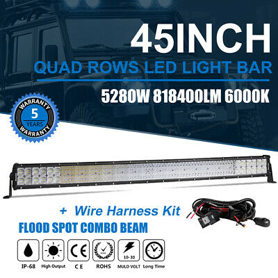 "44""/ 45INCH 5280W LED Work Light Bar Flood Spot Combo Offroad Truck SUV 4x4WD 43"