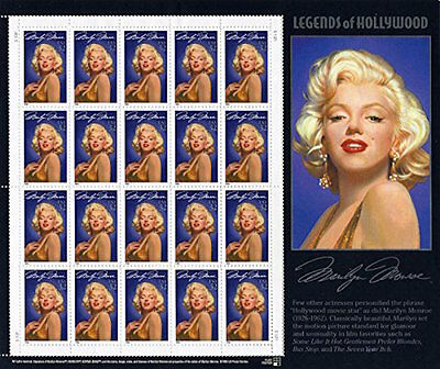 1995 MARILYN MONROE: Legends of Hollywood Series 1 Mint Sheet 20 32¢ Stamps 2967