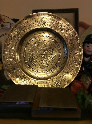 "Antique Chinese Brass Plate-The Dragon Chasing The Pearl-10""Diameter-Signed"