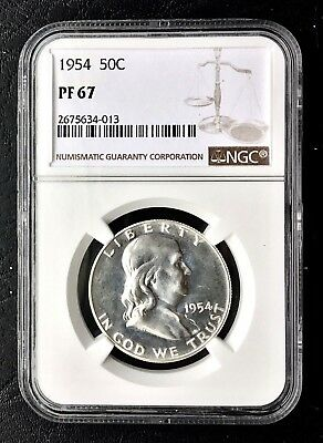 1954 50c Franklin PROOF Silver Half Dollar NGC PF 67 RARE HIGH GRADE