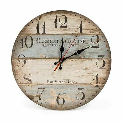 Lohas Home Wooden Wall Clock Shabby 6 Vintage Rustic Designs Round 12in Silent