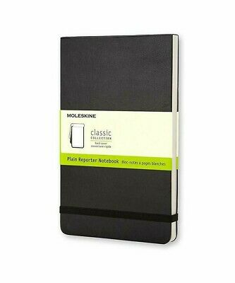 "Moleskine Classic Hard Cover Reporter Notebook, Plain, Large (5"" x 8.25"") Black"