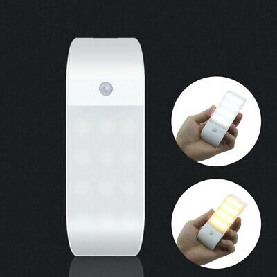12 LED USB Rechargeable Cabinet Light PIR Motion Sensor Induction Night Lamp NEW