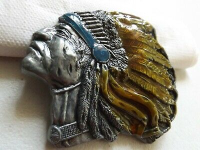LOT 5 Belt Buckles Chief Head Native Indian American Canadian Feather Buckle