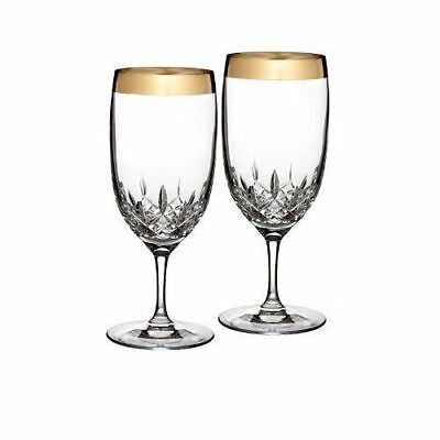 Retails $180 Pair - Lismore Essence WIDE GOLD Band Iced Tea Beverage Waterford