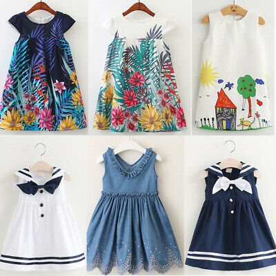 Baby Girl Toddler Princess Pageant Party Tutu Dress Flower Print  Check Dresses