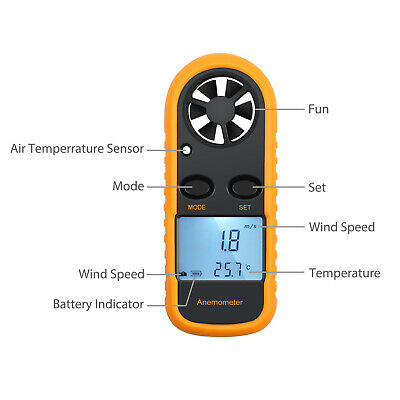 Digital LCD Air Wind Speed Anemometer Temperature Gauge Meter Tester Thermometer