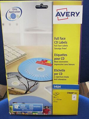 Avery C9660-25 Self-Adhesive Glossy Full Face CD Labels