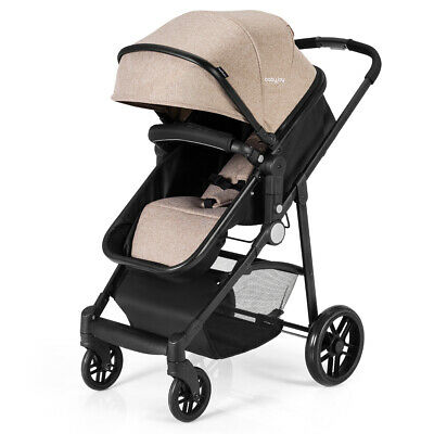 2 In 1 Foldable Baby Stroller Kids Travel Newborn Infant Buggy Pushchair Coffee