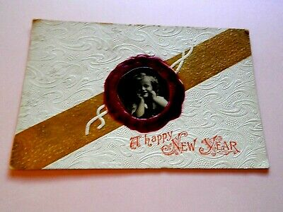 """.1908. RARE POSTCARD. Printed in Germany. Happy New Year. . """"L@@@K""""."""