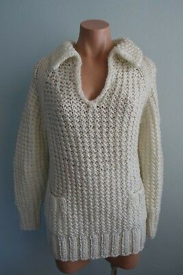 Vintage 1970s Scharade for Katies Chunky Knit Pockets Off-White Jumper sz 14