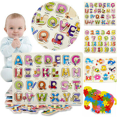 Wooden Animal Letters Puzzle Jigsaw Numbers Kids Early Learning Educational Toy