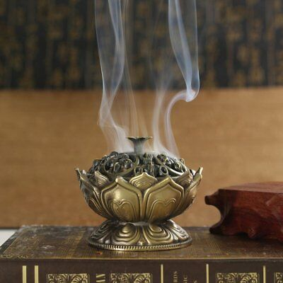 Metal Chinese Lotus Incense Burner Cone Holder Flower Statue Censer Room UX0
