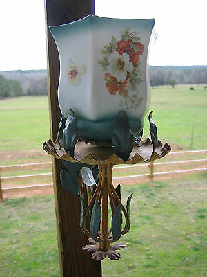 Vintage Tole Metal Wall Sconce Candle Holder & Globe With Flower Design
