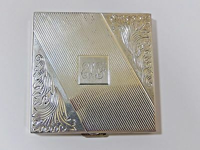 VINTAGE-ANTIQUE SOLID STERLING SILVER ETCHED VOLUPTE LARGE COMPACT EVC 158g
