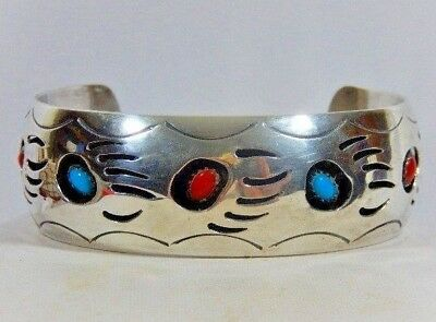 5aeec4cda95a Navajo Farlene Spencer Sterling Silver Turquoise Shadowbox Large Cuff  Bracelet