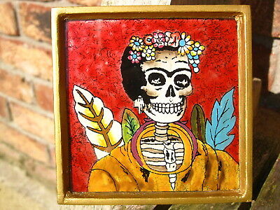 MEXICAN FOLK ART PICTURE DAY OF THE DEAD SUGAR SKULL Lady PAINTING FRAME