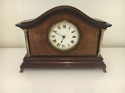 Fine French Antique Edwardian Mahogany Inlaid Case Mantle Clock Movement Nouveau