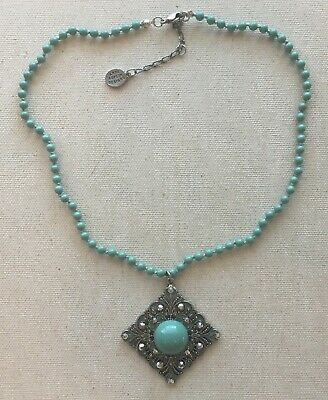 Vintage Anne Koplik Necklace Pendant Blue Resin Bead Medallion Steampunk 16-18